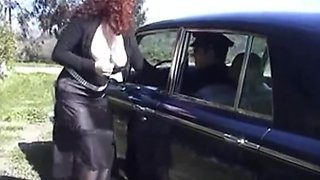 Hairy italian anal and pissing with her chauffeur