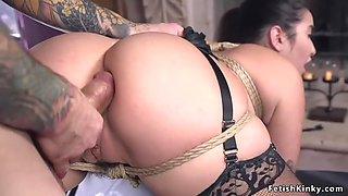 Hot maid in bondage got fucked