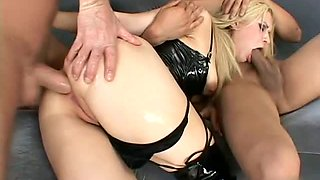 Dirty Blonde Doll Must Have Two Cocks To Orgasm