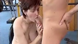 Mature Elaine or Claire fuck young boy in gym
