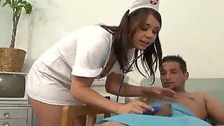 Beverly Hills the sexy nurse gives a blowjob to a patient