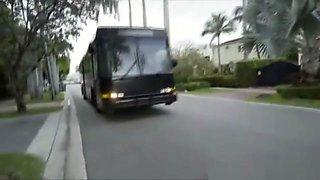 Bikini Chick Blows On Party Bus