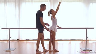 oral sex at the barre with petite blonde ballerina