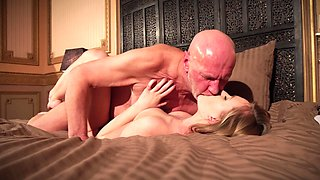 Young blonde leaves boyfriend's old man to fuck her hard
