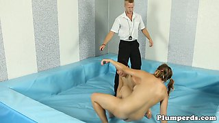 Curvy bbw wrestling and sucking cock