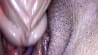 Extreme close up creampie masturbation with dildo