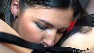Nasty lesbians Danica Dillon and Crystal Clark lick their yonis