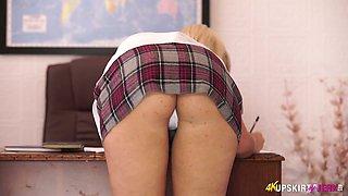 Slutty student chick in short skirt Millie Fenton spreads legs wide open