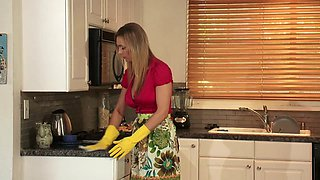 Sexy MILF finger fucks blonde teen babe in the kitchen