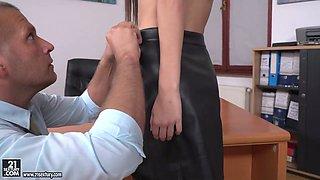 Leggy secretary in stockings Heather Harris is sucking a hard dick of her boss