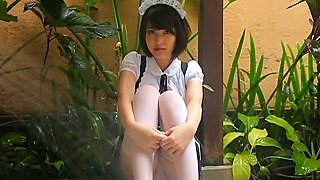 Attractive maid fro Asia Kishi Asuka takes her uniform off