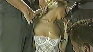 Fine and beautiful blondie in white lingerie tries BDSM gangbang