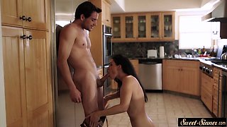 Lovely stepmom fucked hard in the kitchen