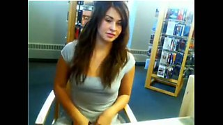 Hot GF flashing her tits and pussy in the library on web camera