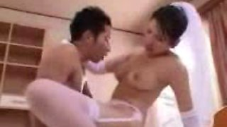 Japanese bride enjoys some naughty banging indoors