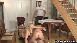 Perverted parents fuck their son\'s GF