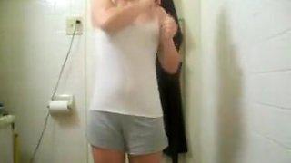 Nice Teen Stripteasing In Bathroom