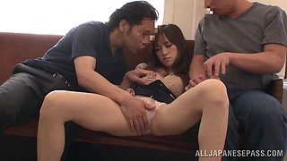 Beautiful Japanese chick gets threesomed in a train