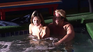 Craig Valentine has a lusty brunette sucking his cock in the pool