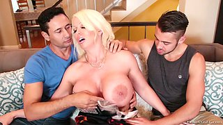 Two bisexual dudes drill pussy and anus of slutty busty milf Alura Jenson