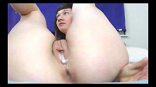 cute camgirl huge anal plug and creamy pussy
