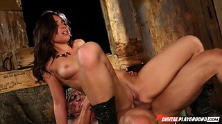 Fucking a beautiful girl in leather boots and making her cum
