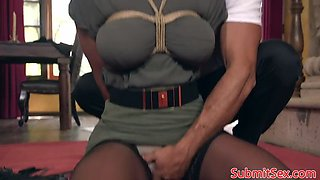 gagged blonde sub whipped and fucked by dom