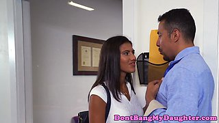 Pretty teen banged at stepdads office