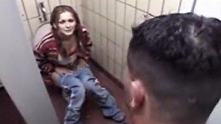 Girl fucked on public toilet
