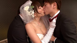 Gorgeous Asian bride cheats on her new hubby with the groomsmen
