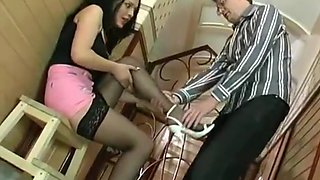 Step dad and daughter with problems in black stockings