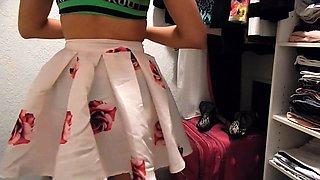 Seductive amateur teen tries on her new panties on webcam