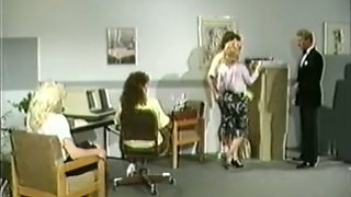 Blonde mommy in black lingerie banged in doggy style in the office