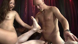 Sassy chick Kita Zen fucks Deviant Kade and Tom Moore in bisexual 3some