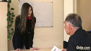 Old and young fresh teen fucks her older boss in the office and swallows