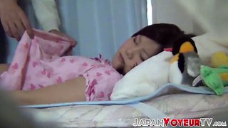 Touching and groping a cute japanese schoolgirl