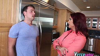 milf janet and teen riley take long cock in kitchen