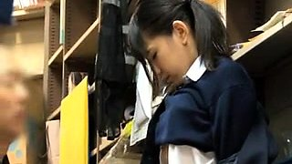 Lovely Asian schoolgirl seduces an old man to fuck her pussy
