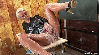 Nerdy teacher and her messy adventure with the gloryhole cock