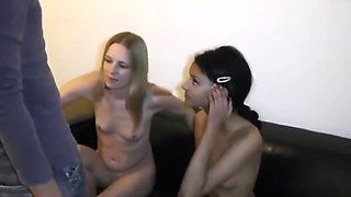 Two shy innocent girls enjoying first time in porn