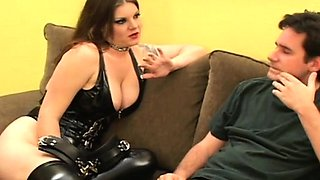 Pair of sweethearts tie a boy up and dominate him all over