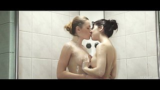 Lady Dee rubs Valerie Foxs pussy under the shower