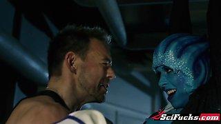 Scifucks. Sexy blue alien Liara seduces Shephard