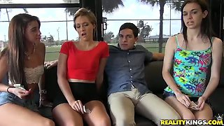 Horny dude gets on a bus and ends up having fun with several hot chicks