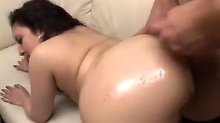 Stunning whore with bubble-butt Nina Star gets ass oiled and fucked