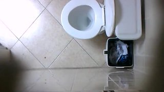 Spy camera in the toilet ceiling