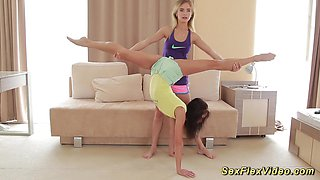 Cute skinny extreme flexible girlfriend gymnasts stretching and bending naked