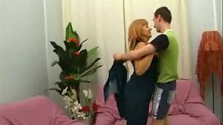 Redhead mature aunt fucked by young guy