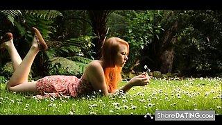 Redhead Teen Garden Bate