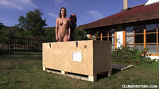 Her mail order sex slave comes and she fucks her outdoors